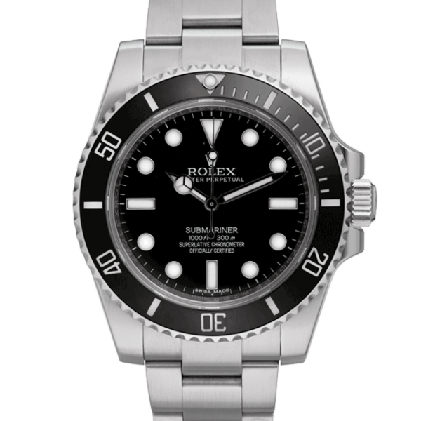 Rolex Oyster Perpetual Submariner Black Dial Color Watch Front View