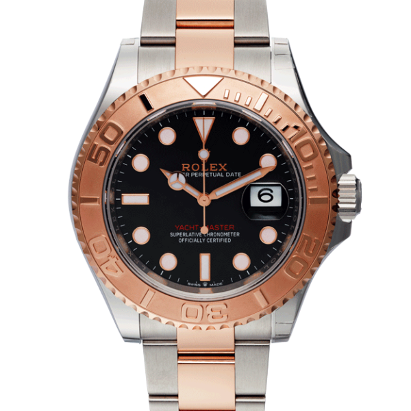 Rolex Yacht-master 40 Everose Gold Ref. 126621 Black Dial Color Watch Front View