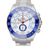 Rolex Yachtmaser Silver With White Dial Color Watch Front View