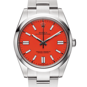 Rolex Oyster Perpetual Coral Dial Color Watch Front View