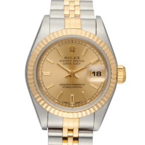 Rolex Oyster Perpetual Datejust Gold Dial Color Watch Front View