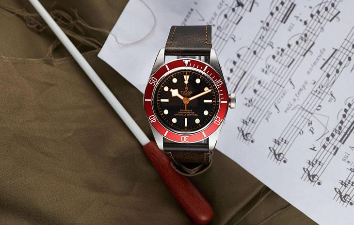 Tudor Black Bay with red bezel, black dial, and brown leather strap