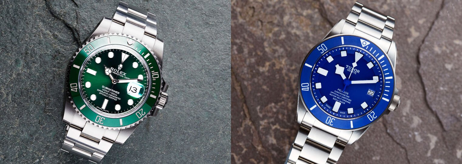 Rolex Submariner with green dial and bezel and Tudor Pelagos with blue bezel and blue dial