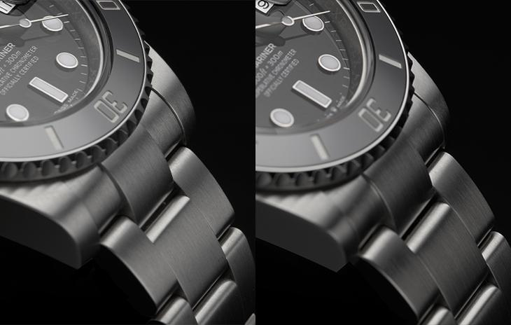 The case lugs and oyster bracelet on the Rolex Submariner Date 116610LN and Rolex Submariner Date 126610LN