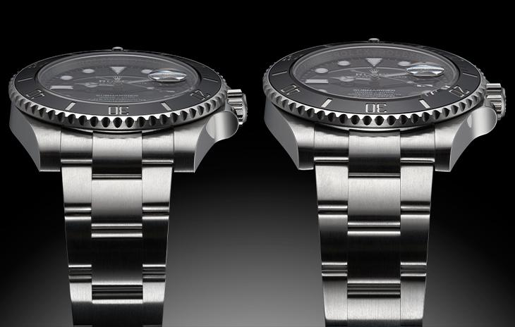 Comparison shot of the 41mm case on the 116610LN and 40mm case on the 12