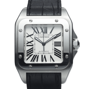 Cartier Santos White Dial Color Watch Front View