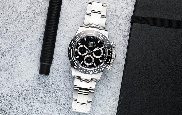 Rolex Cosmograph Daytona with black dial and silver subdials