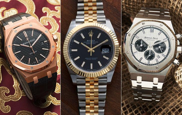 Rose gold AP Royal Oak Offshore, Two-tone Rolex Datejust II with fluted bezel, Stainless steel AP Royal Oak
