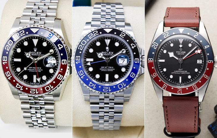 Rolex GMT-Master II with red and blue ceramic bezel, Rolex GMT-Master II with black and blue ceramic bezel, and Tudor Black Bay GMT with red and blue dial and red leather strap