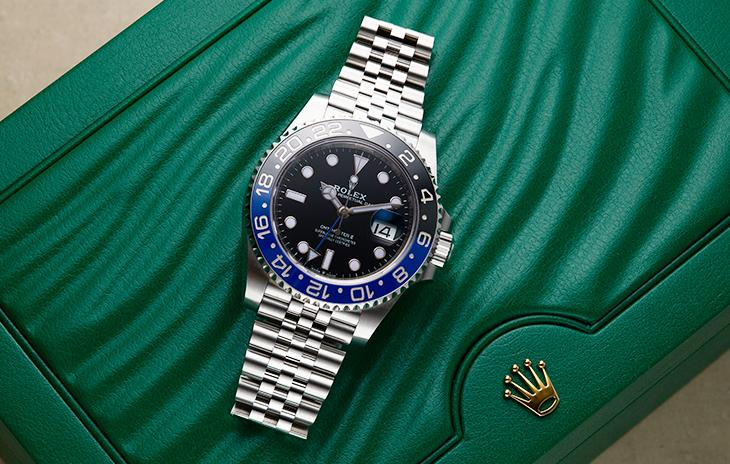 Rolex GMT-Master II with black and blue ceramic bezel and 5-link jubilee bracelet