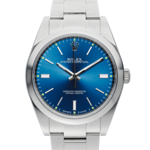 Rolex Oyster Perpetual Blue Dial Color Watch Front View
