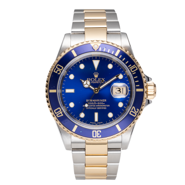 Rolex Submariner Date Ref. 16613 Blue Dial Color Watch Front View