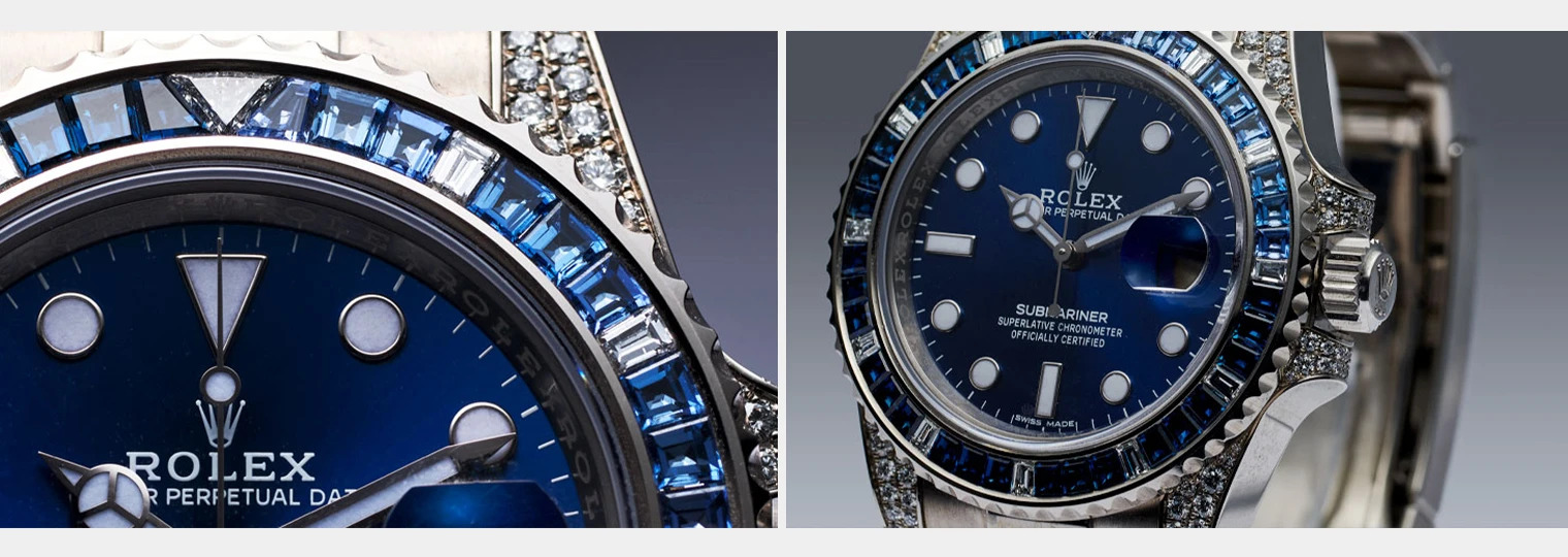 36 sapphires and 12 diamonds on the bezel of the Rolex Submariner 116659SABR