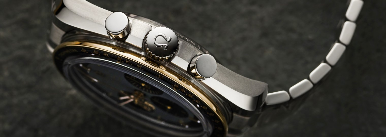 Winding crown, pushers, and the bezel on the Omega Speedmaster Apollo 11 50th Anniversary Moonwatch