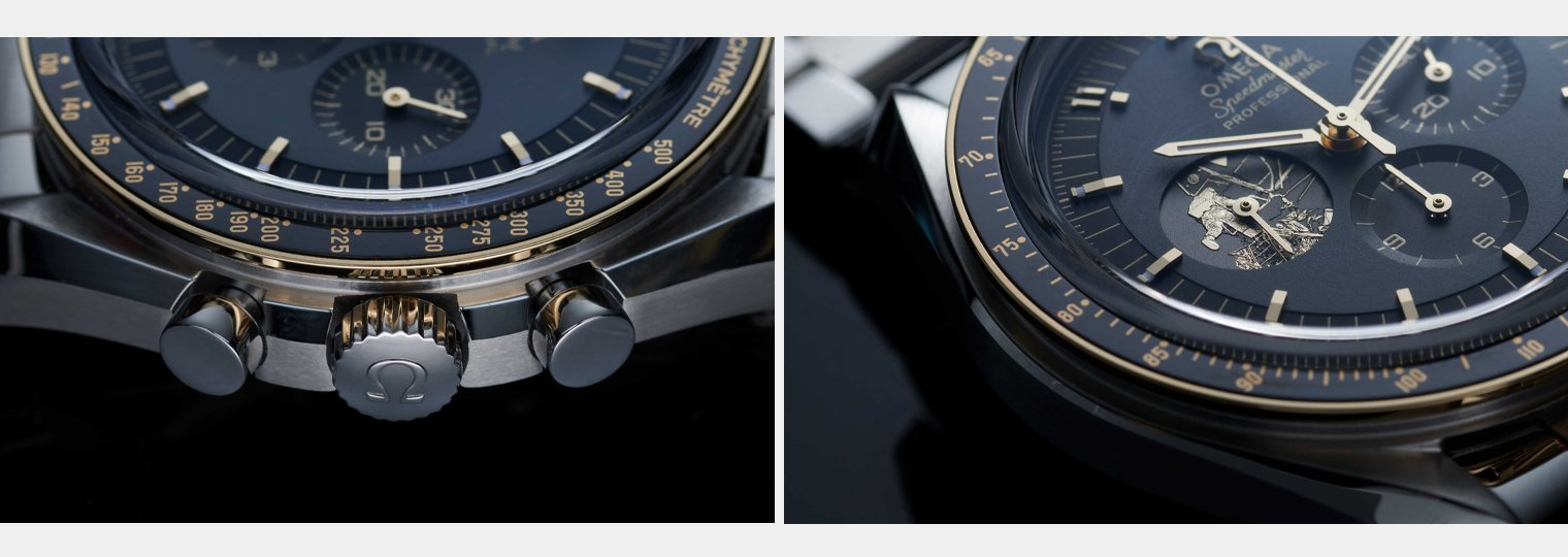 Omega winding crown, pushers, and bezel with 18k gold.