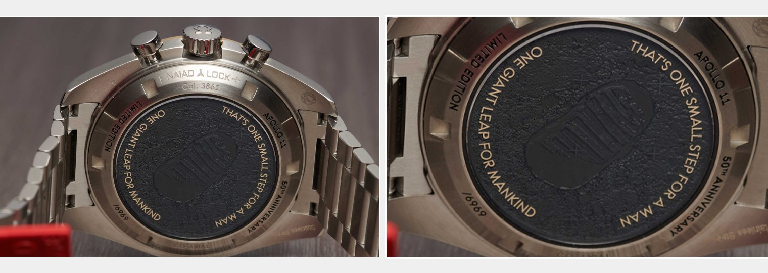 Laser-engraved image of Buzz Aldrin's footprint on the watch caseback