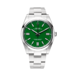 Rolex Oyster Perpetual Ref. 124300 Green Dial Color Watch Front View 2
