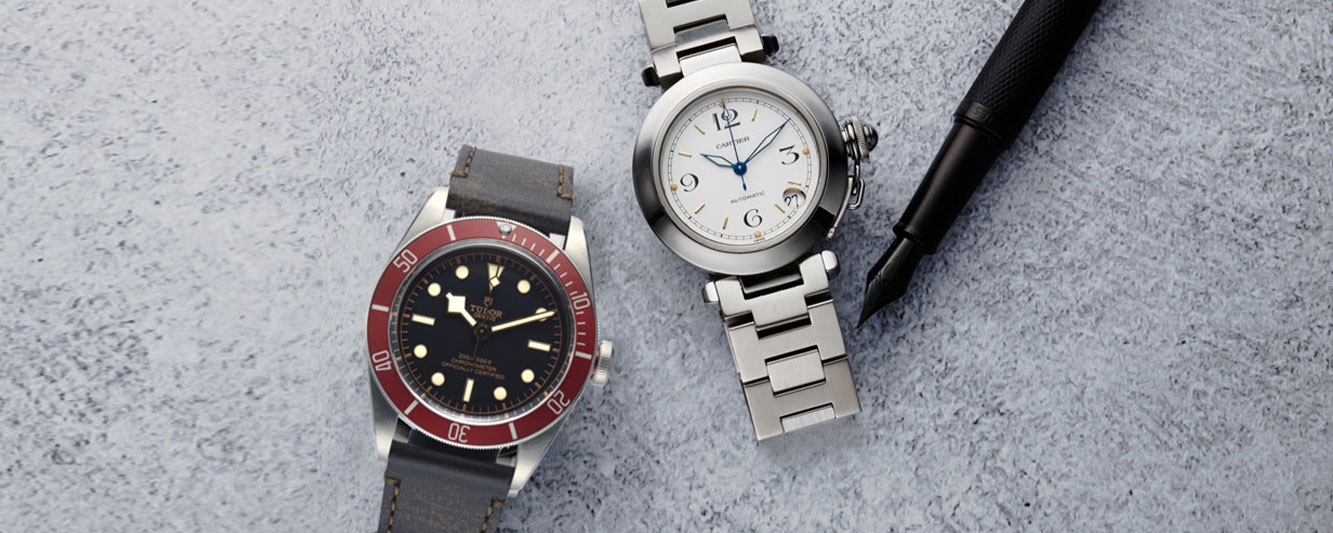 The Tudor Black Bay 79220R & Cartier Pasha paired for Valentine's Day