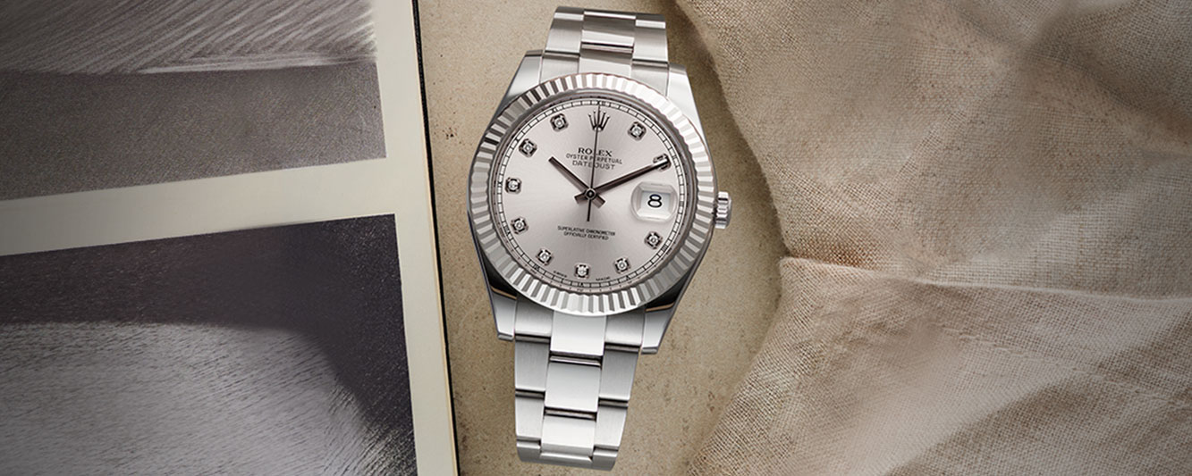 The Rolex Datejust II with diamond markers for her on Valentine's Day 2021