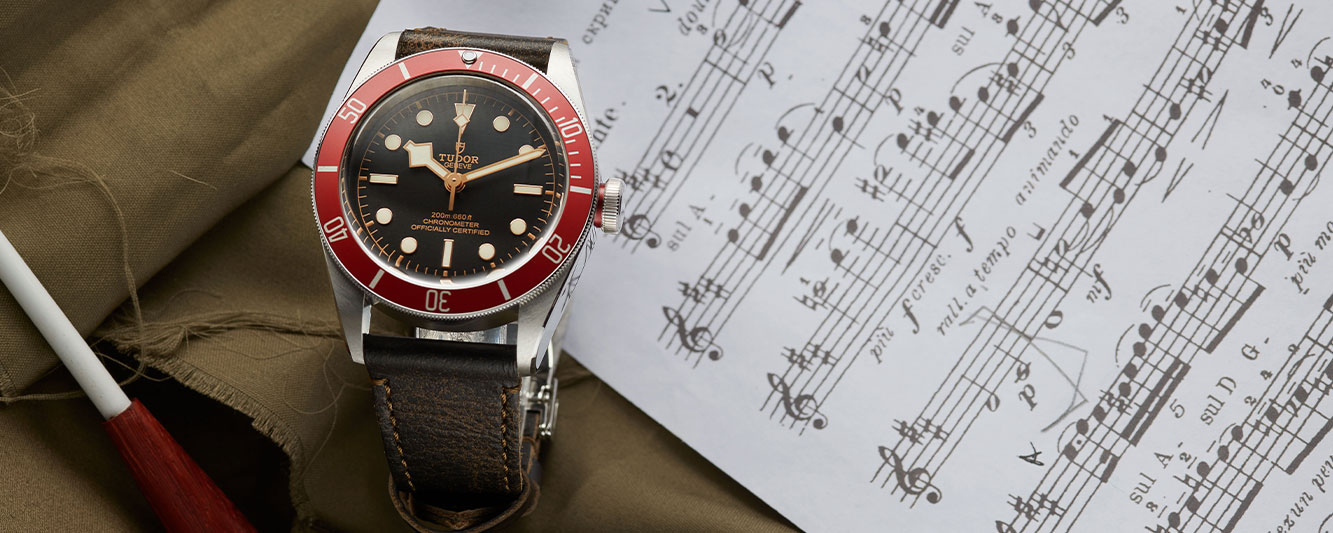 The Tudor Black Bay 79220R with a red bezel for him on Valentine's Day