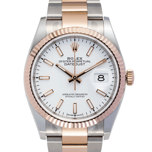 Rolex Datejust two tone rose gold white dial 126231
