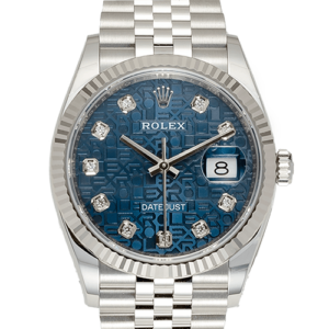 Rolex datejust blue jubilee dial face
