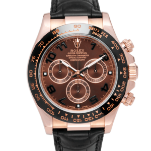 Rolex Cosmograph Daytona Discontinued Chocolate Arabic Dial Leather Strap