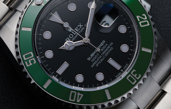 Green bezel and black dial Submariner Date 126610lv