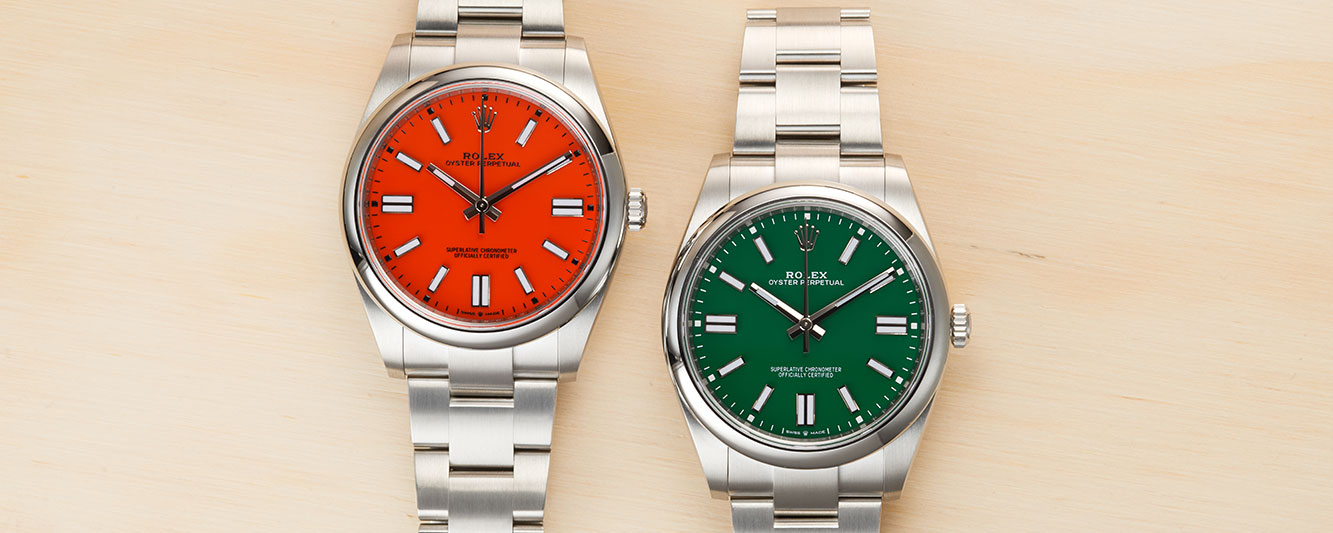 Rolex Oyster Perpetual 41 in coral red and green