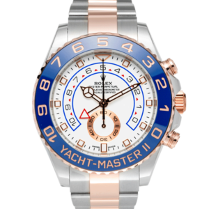 Rolex Rolesor Rose Gold Two Tone Yacht Master 2 116681 White Dial Color Watch Front View