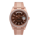 Rolex Presidential Day-Date Rose Gold Chocolate Dial Diamond Set Bezel 40 MM