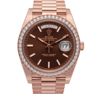 Rolex President Day-Date Rose Gold Chocolate Dial Diamond Set Bezel 40 MM