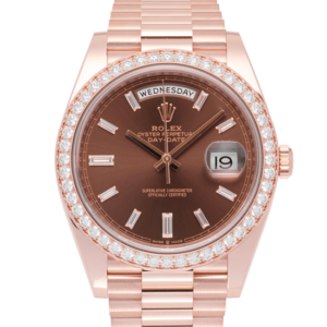 Rolex Day-Date Everrose Gold Presidential Chocolate Stick Index Dial with Diamond Set Bezel 40 MM