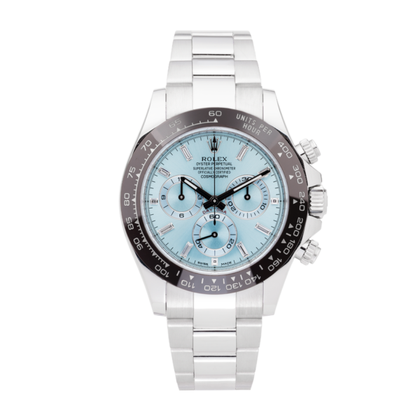 Rolex Cosmograph Platinum Daytona Ice Blue Dial Ref. 116506 Watch Front View 2