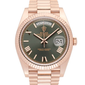 Rolex Day Date Green Dial Rosegold-Face2