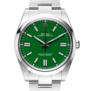 Rolex Oyster Perpetual Green Dial Color Watch Front View