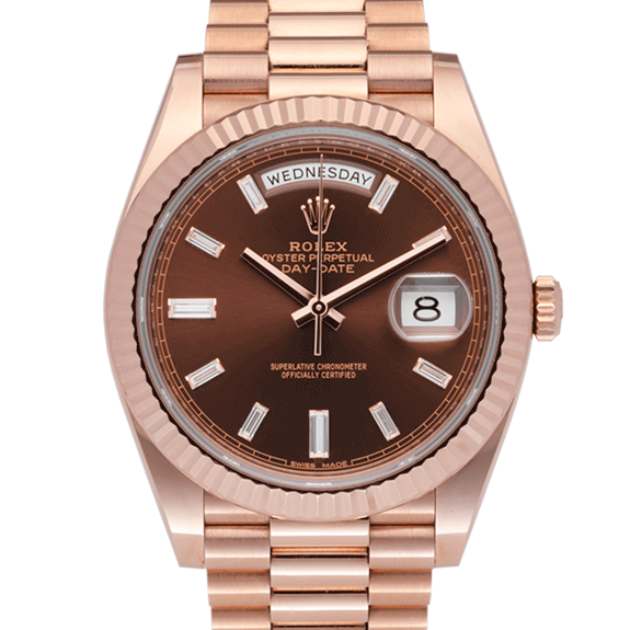 Rolex Day-Date 228235 Chocolate Baguette Dial-face