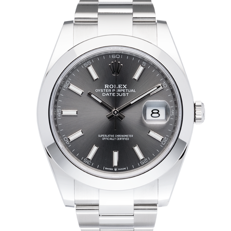 Rolex Oyster Perptual Grey Dial-Face2